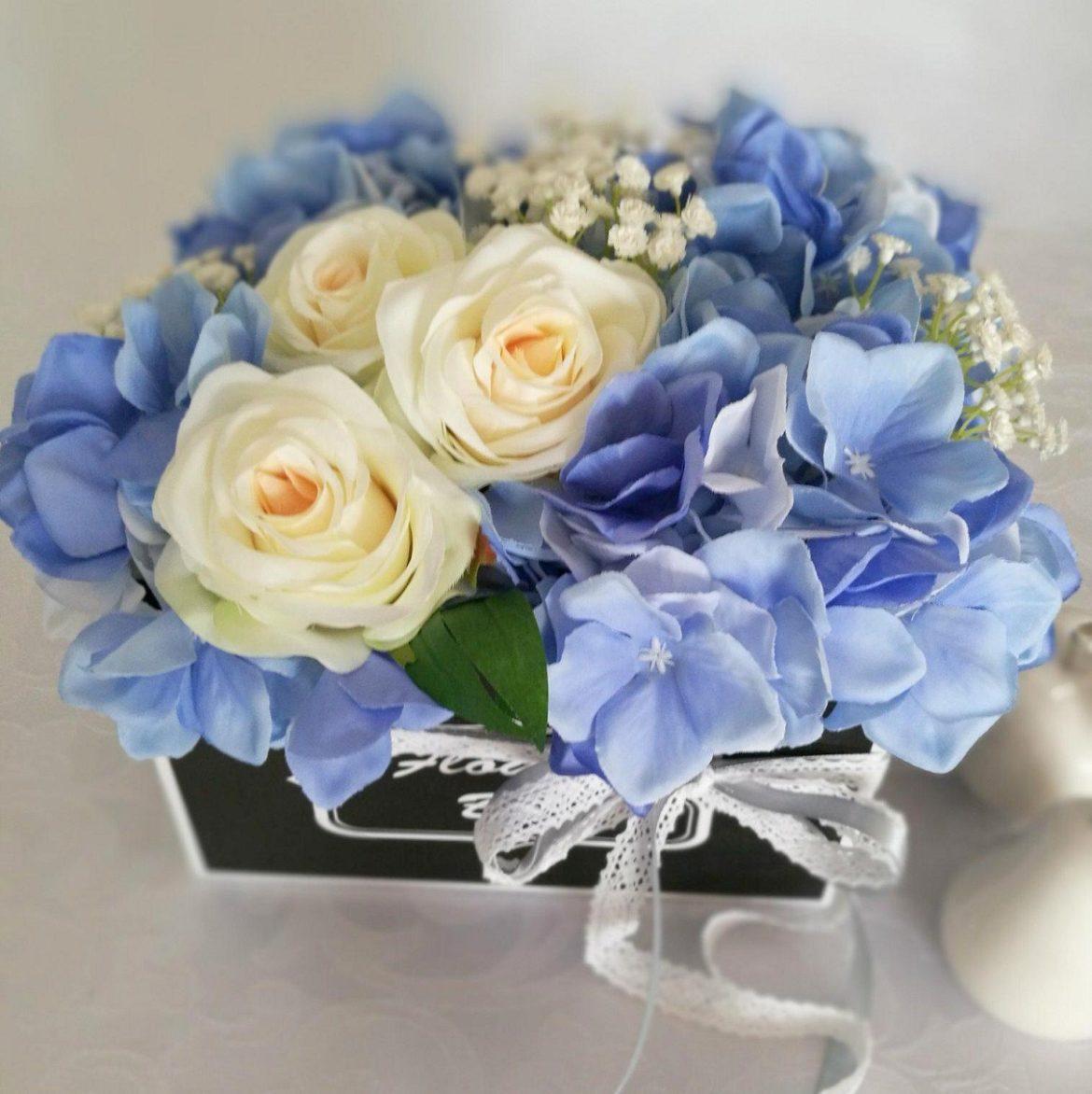 flower box biało-niebieski