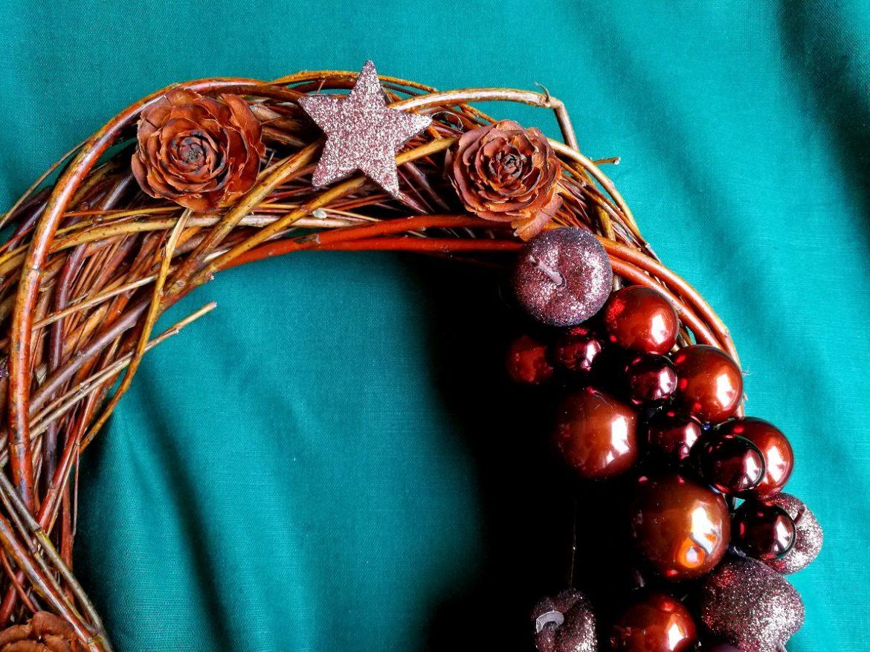 Stroik Wianek Świąteczny Czekoladowy Kawowy