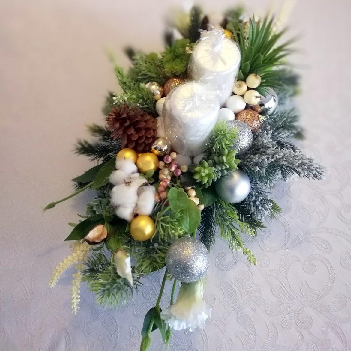 Dekoracja świąteczna z sukulentami roz. S