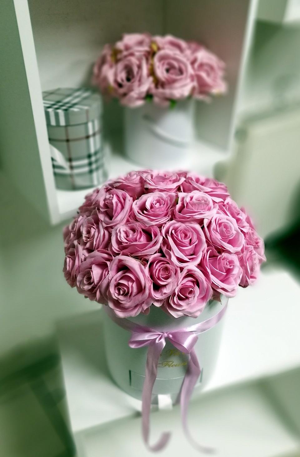 Flower box różowe róże nr. 129