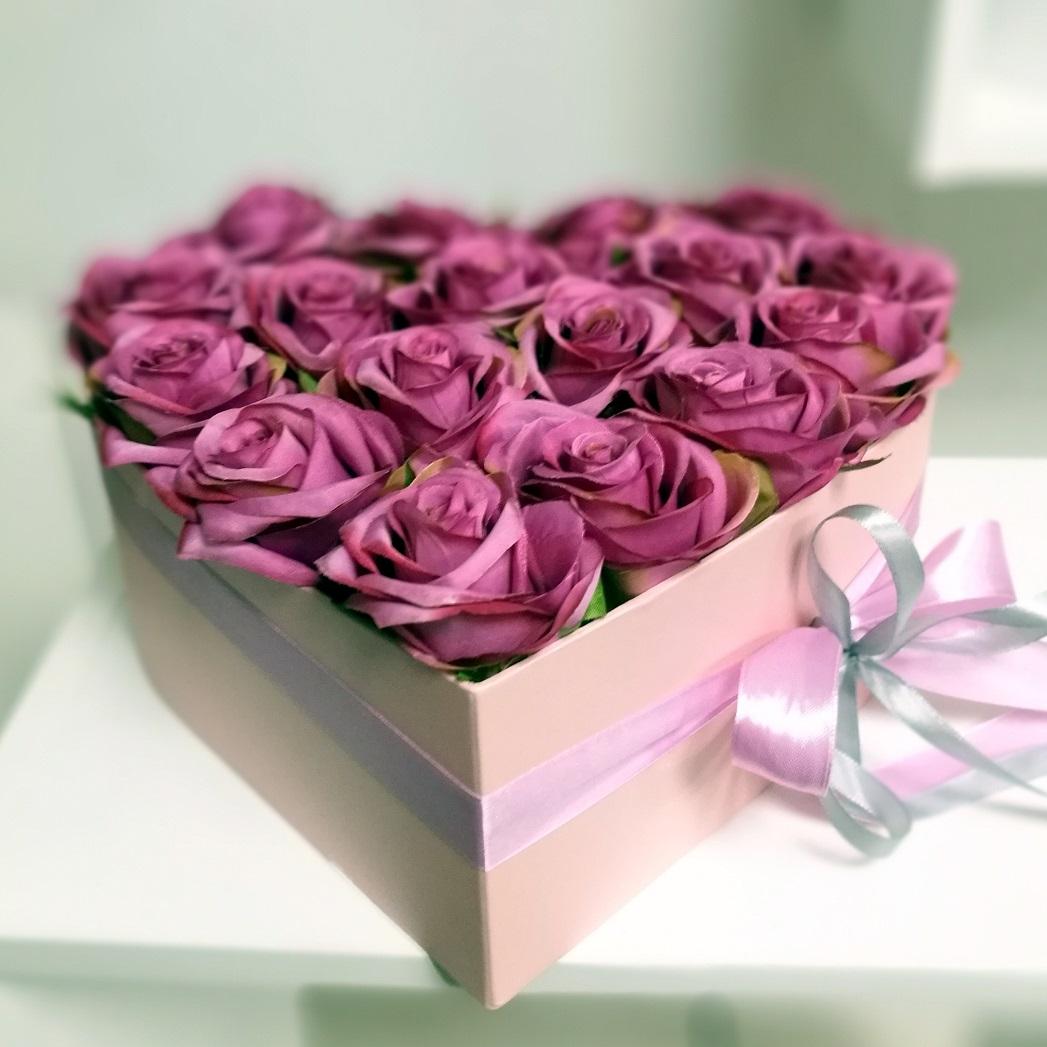 Flower box serce roz. L nr. 134