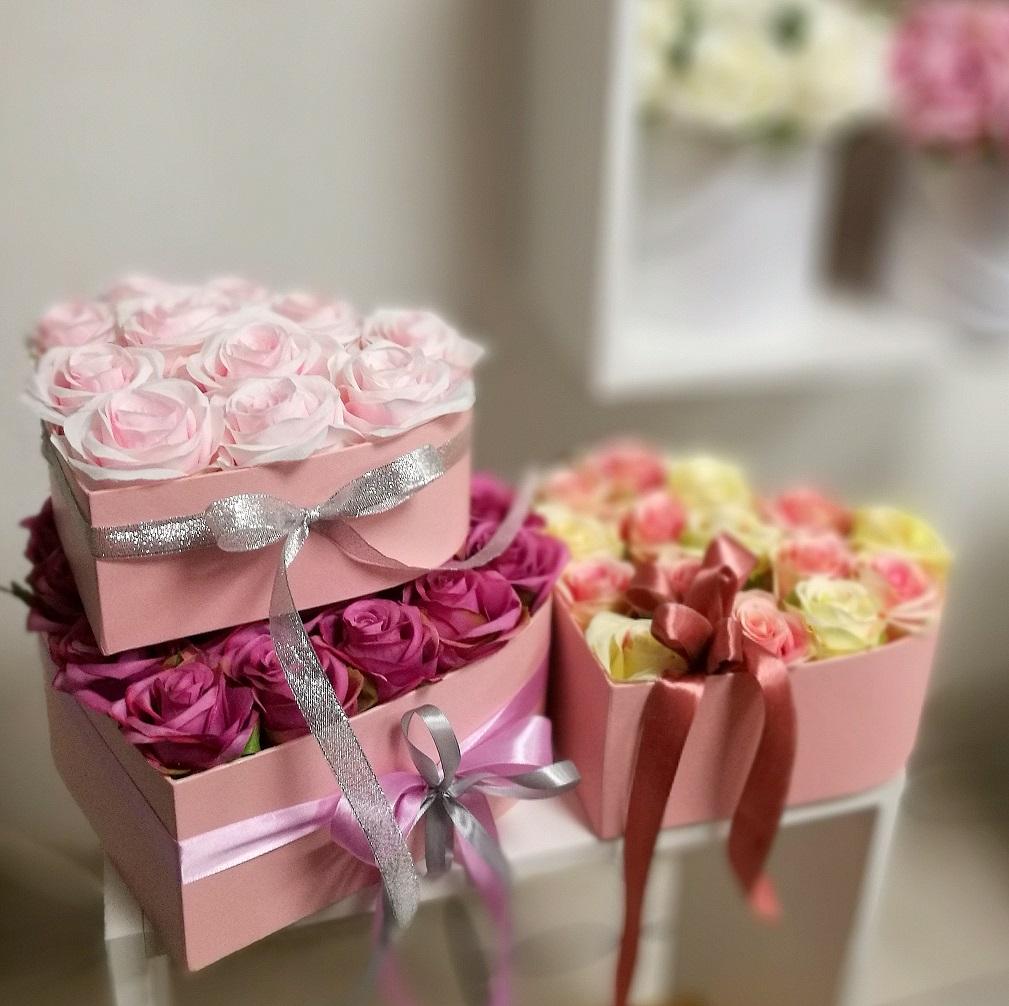 Flower box serce roz. S nr. 136