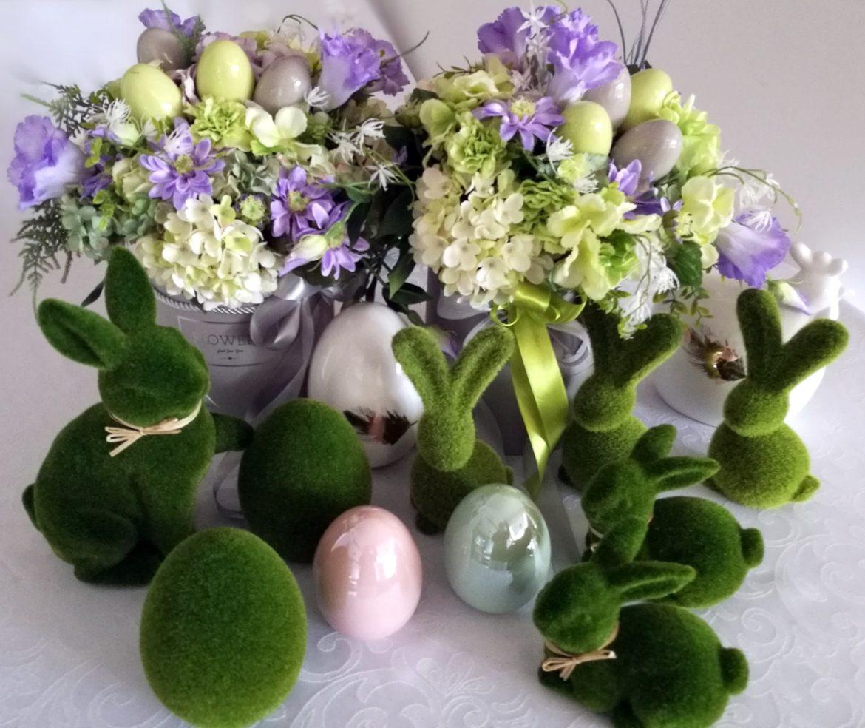 Wielkanocny zając z porcelany siedzący S