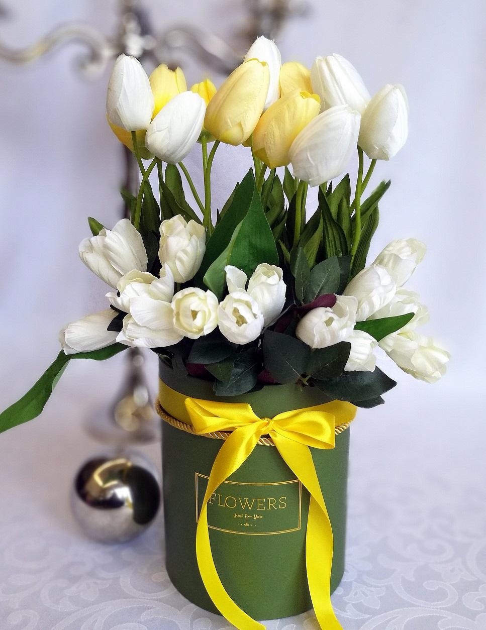 Biało-żółte pudełko z tulipanami nr 222, Wiosenne tulipany w zielonym pudełku nr. 175