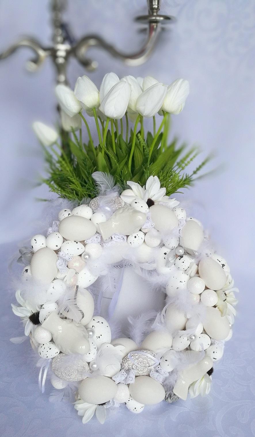 Perłowo biały wianek 2