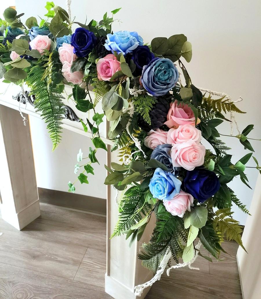 Girlanda kwiatowa różowo-niebieska nr 320