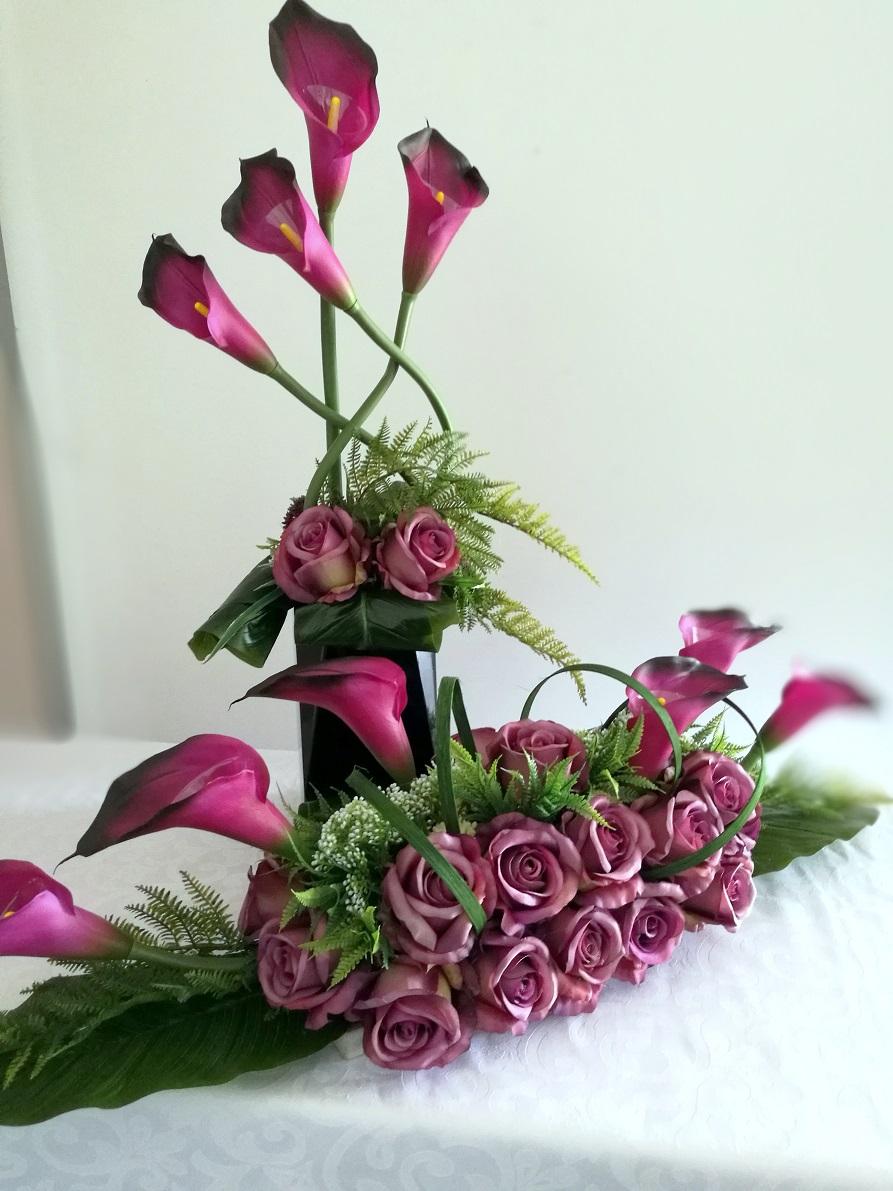 Zestaw nagrobny w fiolecie roz M nr. 303