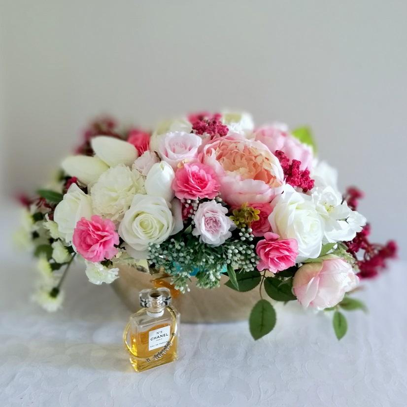 Kompozycja kwiatowa piwonie i róże nr 347