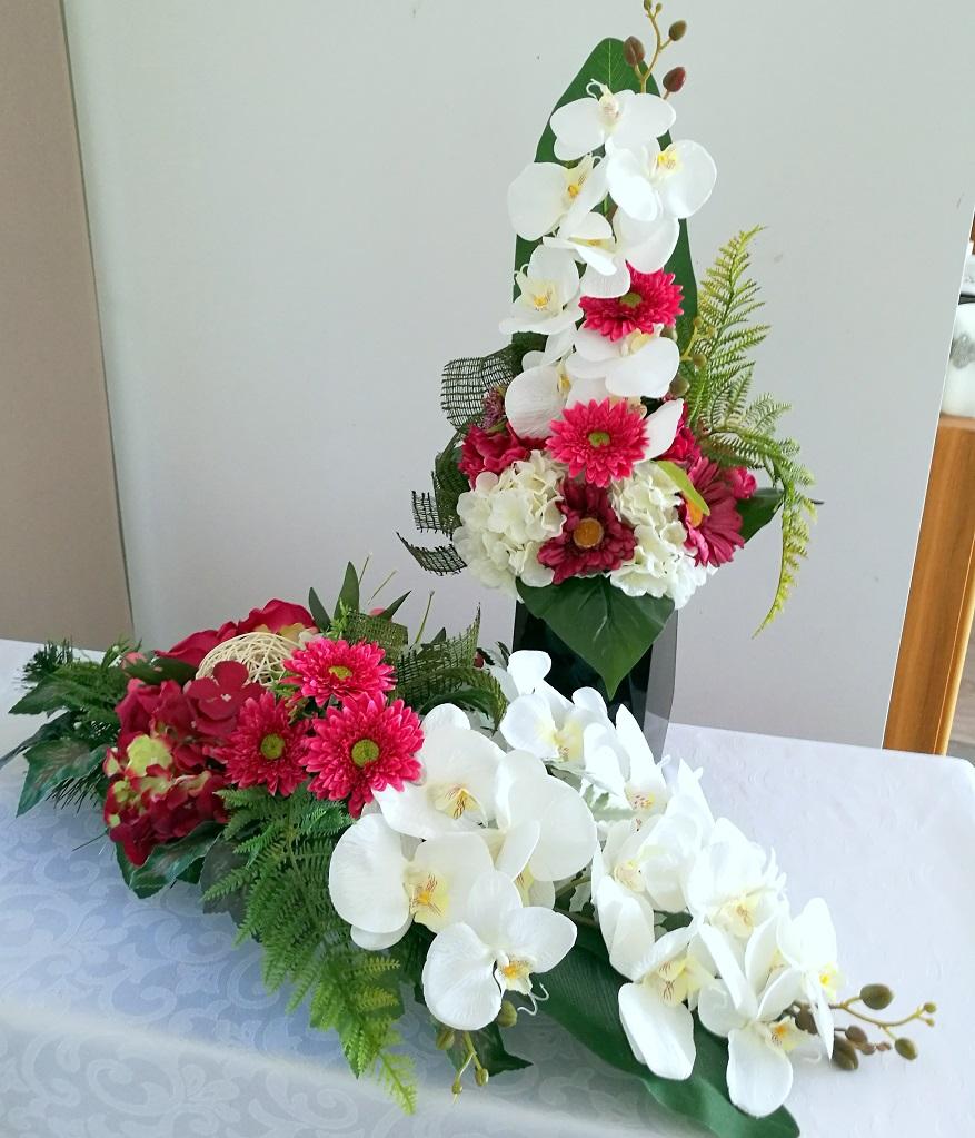 Bukiet i stroik nagrobny biel z amarantem nr 314