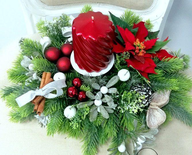 Stroik na stół ze świecą Świąteczne Barwy Natury