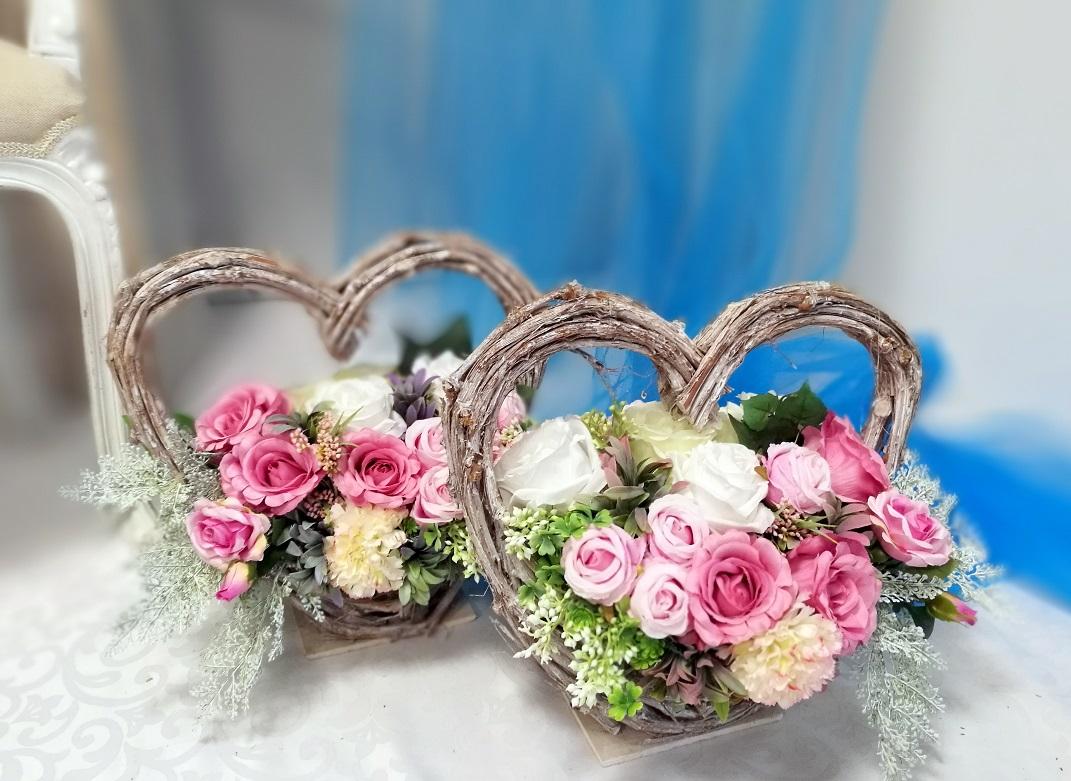 Serce z kwiatami pastelowy róż nr 400