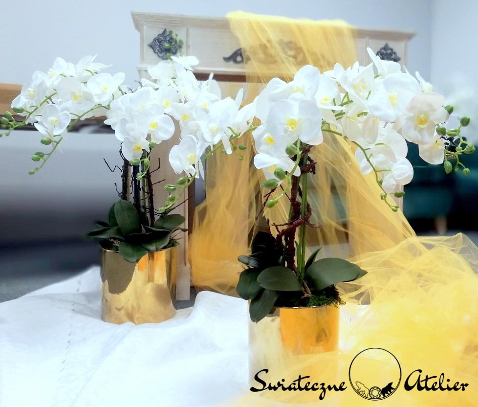 Białe storczyki w złotej donicy 4 nr 376