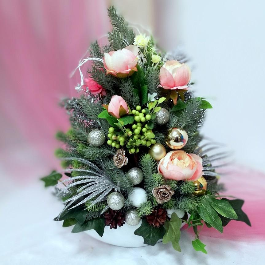 Stroik Świąteczny różowa piwonia nr 381