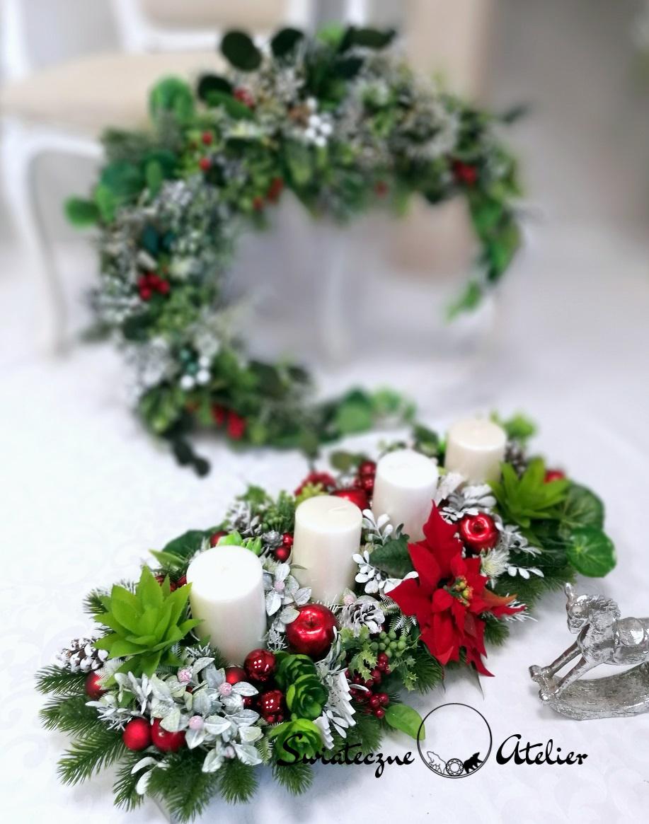 Stroik świąteczny z sukulentami L nr 393