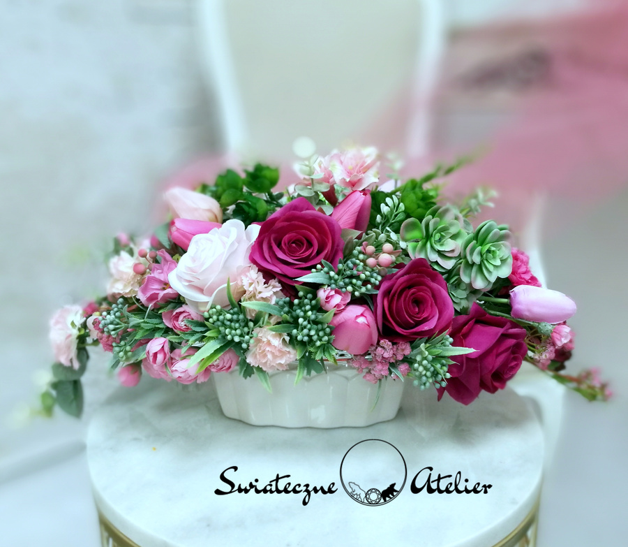 Dekoracja kwiatowa Fuksja i róż nr 453