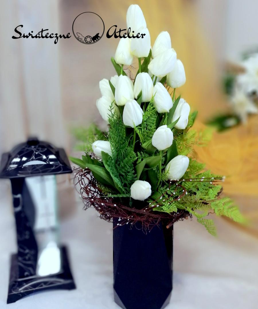 Bukiet na cmentarz Białe tulipany nr 446