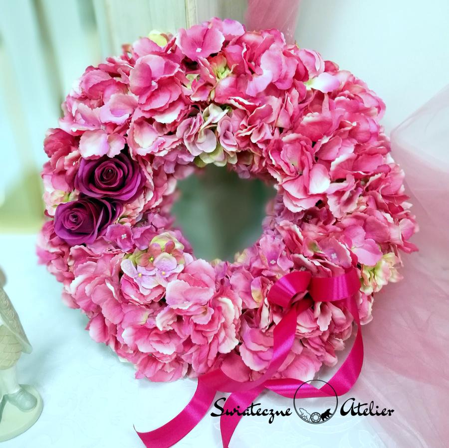 Wianek z różowej hortensji nr 169