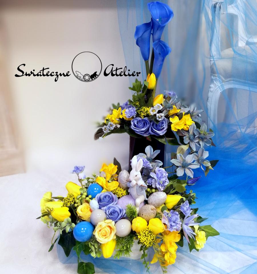 Wielkanocny stroik nagrobny z bukietem nr 459