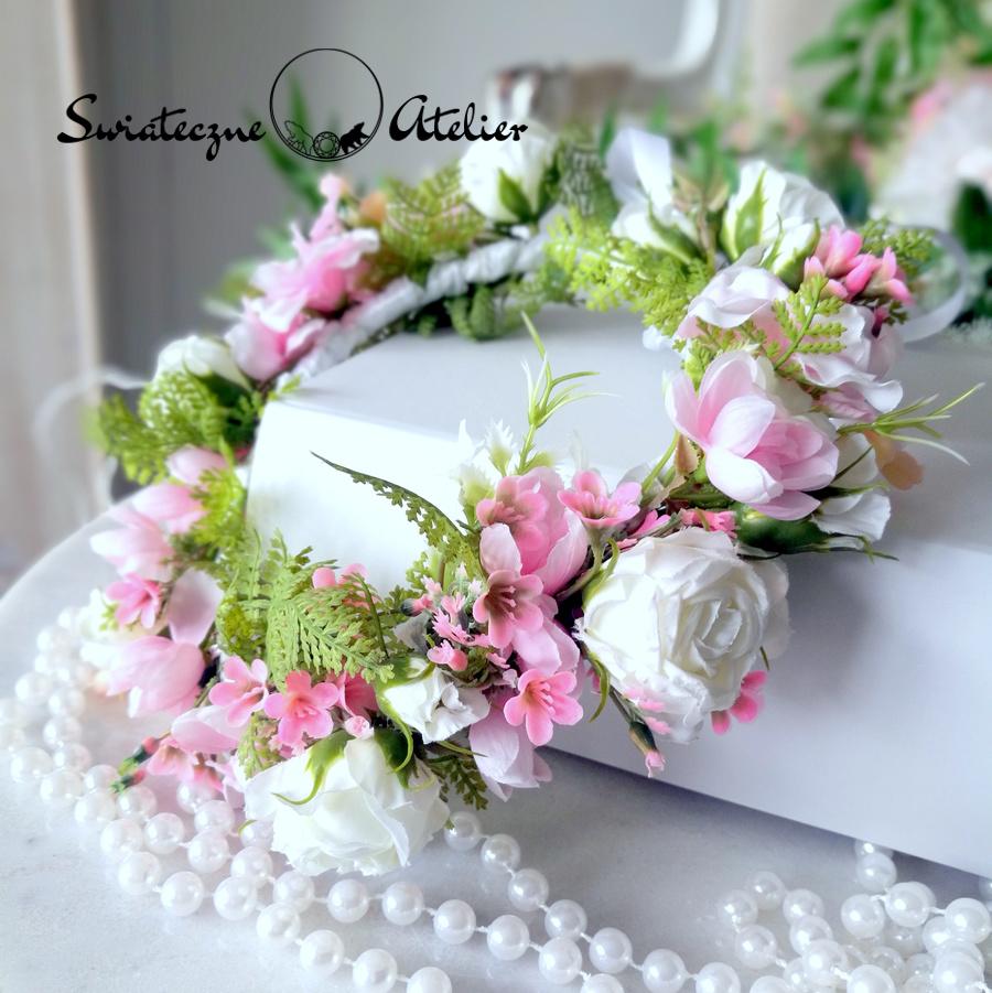Wianek na głowę biało różowy