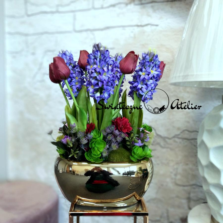 Wiosenna kompozycja kwiatowa hiacynty i tulipany nr 473