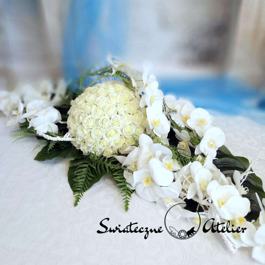 Dekoracja kwiatowa Białe Storczyki nr 505