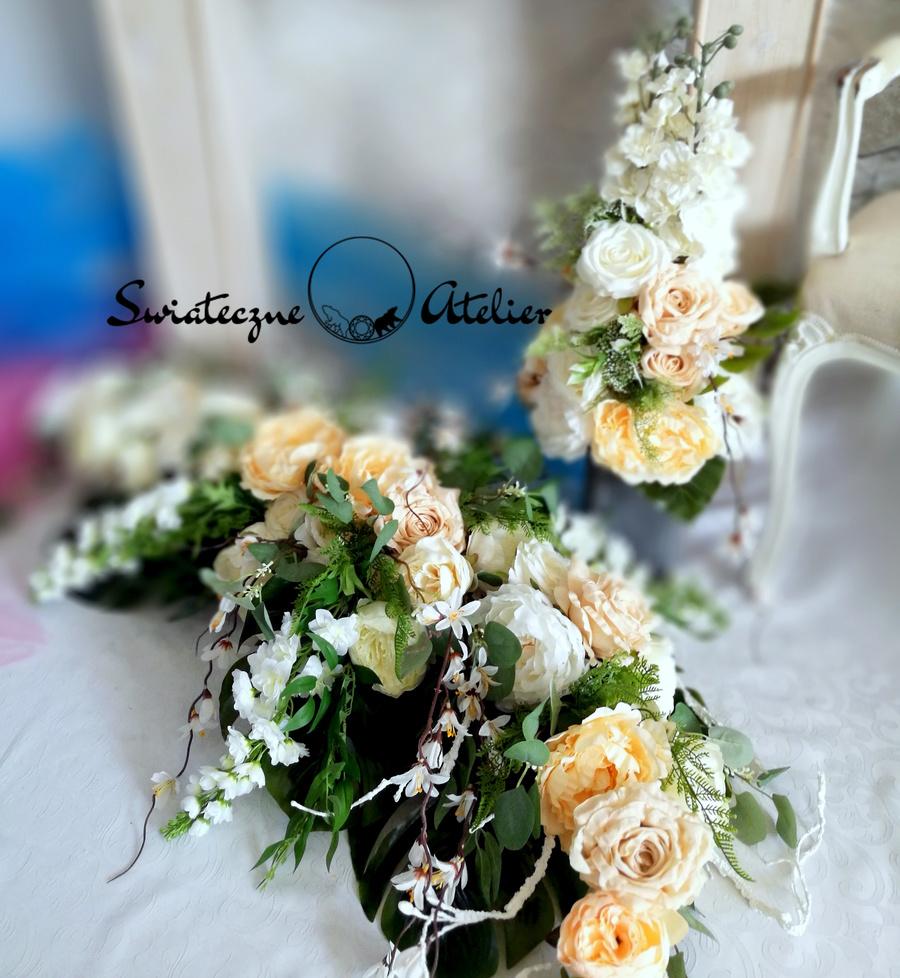 Stroik i bukiet nagrobny Piwonie i róże roz XL nr 524