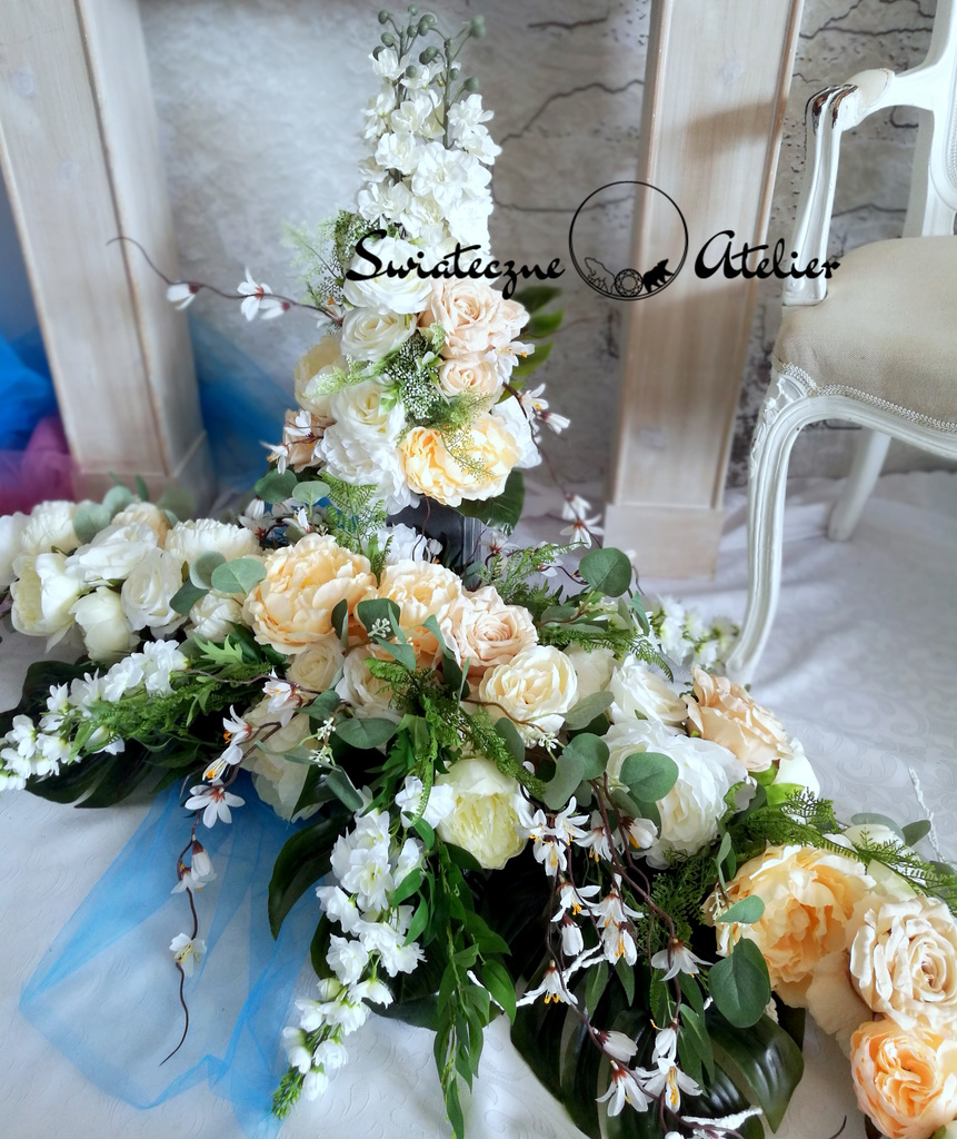 Stroik i bukiet nagrobny Piwonie i róże roz. XL nr 524
