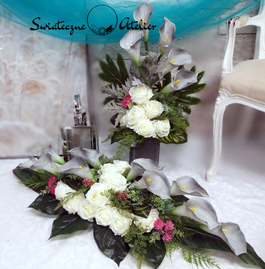 Zestaw nagrobny Szarość i biel roz L nr 548